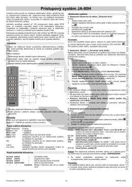 JA-80H - Prístupový systém - Inštalačný návod