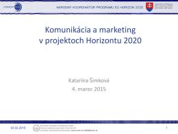 Komunikácia a marketing - Horizont 2020