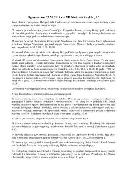 """Ogłoszenia na 22.VI.2014 r. – XII Niedziela Zwykła """"A"""""""