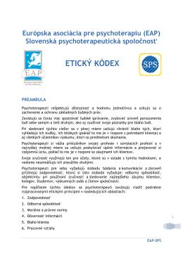 Etický kódex [pdf] - Slovenská psychoterapeutická spoločnosť
