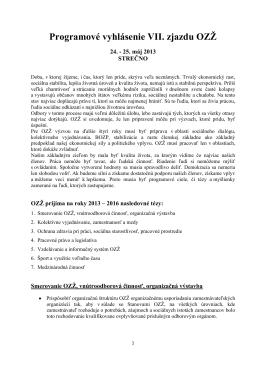 Programové vyhlásenie VII. zjazdu OZŽ