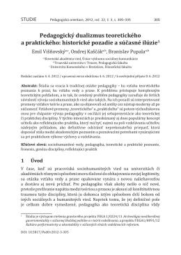 Pedagogický dualizmus teoretického a praktického: historické