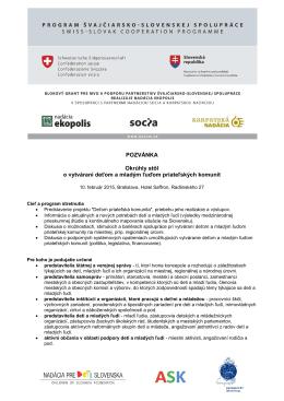 pozvánka - Nadácia pre deti Slovenska