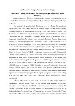 Działalność Okręgu Lwowskiego Światowego Związku Żołnierzy