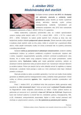 1. október 2012 Medzinárodný deň starších