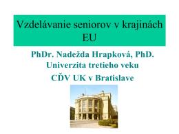 Vzdelavanie seniorov zahranici – Hrapková