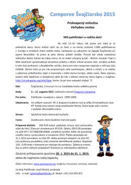 Stiahnite si pozvánku na Camporee 2015