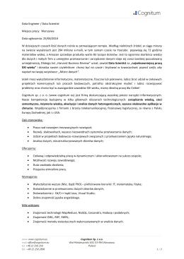 Data Engineer / Data Scientist Miejsce pracy: Warszawa Data