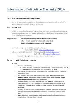 Informácie o detskej púti v Marianke 2014