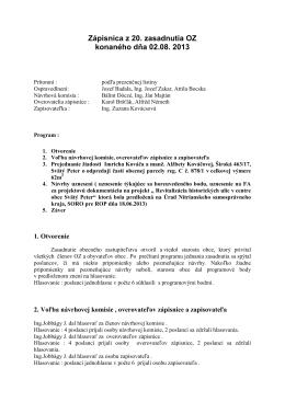 Zápisnica z 20. zasadnutia OZ konaného dňa 02.08. 2013