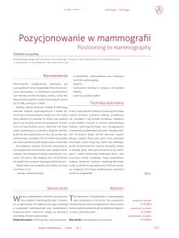 Pozycjonowanie w mammografii