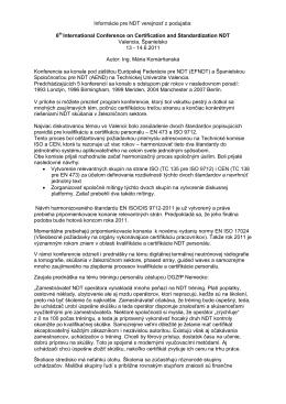 Informácie pre NDT verejnosť z podujatia: 6th International