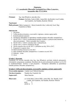 Zapisnica č 10 - 2014