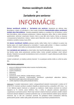 INFORMÁCIE - seniorpohoda.sk