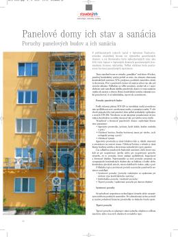 Panelové domy ich stav a sanácia