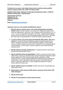 SLOWAKISCH Reparatur ESP Sensor FEB 2014