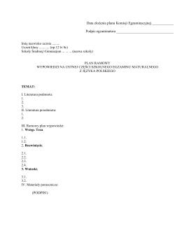 Data złożenia planu Komisji Egzaminacyjnej