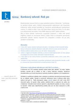Bankový odvod: Rok po téma: - Slovenská banková asociácia