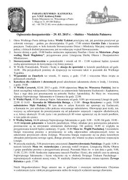 Ogłoszenia parafialne - Parafia NMP Królowej Polski w Słubicach