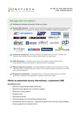 Oferta na wykonanie strony internetowej z systemem CMS