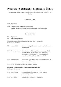 Program 40. etologickej konferencie ČSEtS