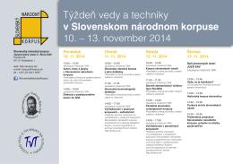 Týždeň vedy a techniky - Slovenský národný korpus