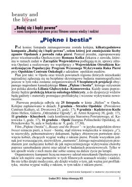 """""""Piękne i bestia"""" - Opolskie Centrum Onkologii"""