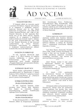 Ad Vocem 2014, nr 11 - Wydział Prawa i Administracji
