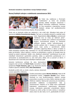 Rozvoj ľudských zdrojov a vzdelávanie zamestnancov 2011