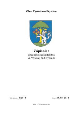 Zápisnica OZ č. 6/2014