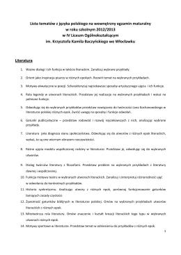 Lista tematów z języka polskiego na wewnętrzny