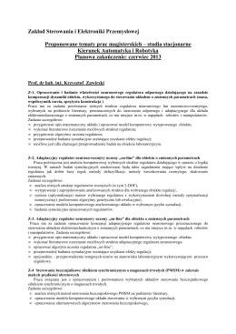 Plik PDF z tematami prac - Zakład Sterowania i Elektroniki
