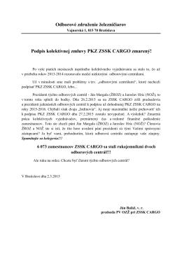 Podpis kolektívnej zmluvy PKZ ZSSK CARGO zmarený!