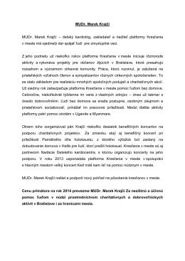 MUDr. Marek Krajčí - laudácium