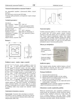 Elektronický termostat Praktik 5 Inštalačný návod