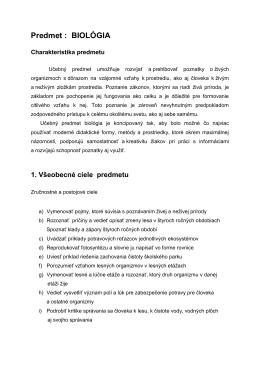 Biológia 5.ročník – autor Mgr. M. Orlovská