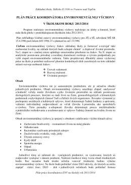 Plán práce koordinátora environmentálnej výchovy