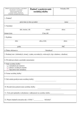 Žiadosť o poskytovanie sociálnej služby
