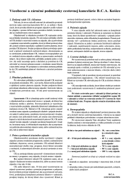 Všeobecné a záručné podmienky CK