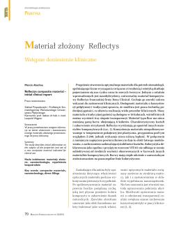 Materiał złożony Reflectys - Wstępne doniesienia kliniczne