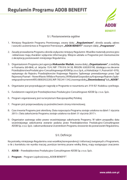 Regulamin Programu ADOB BENEFIT