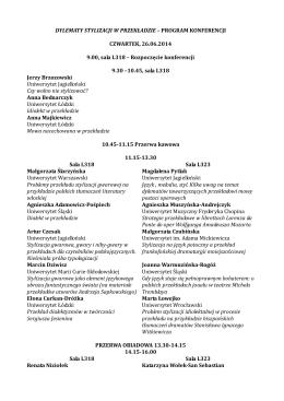 Program konferencji Dylematy stylizacji w przekładzie