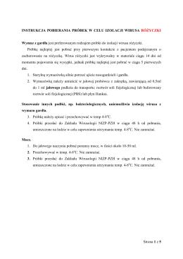 instrukcja pobierania próbek w celu izolacji wirusa odry i różyczki
