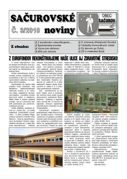 SAČUROVSKÉ noviny SAČUROVSKÉ noviny