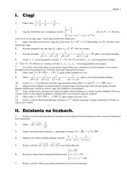 I. Ciągi II. Działania na liczbach.