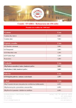 Cenník - SVADBA - Reštaurácia (do 150 osôb)