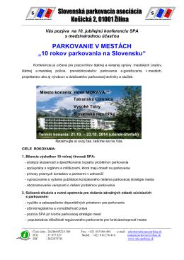 10.KONFERENCIA SPA - Česká parkovací asociace