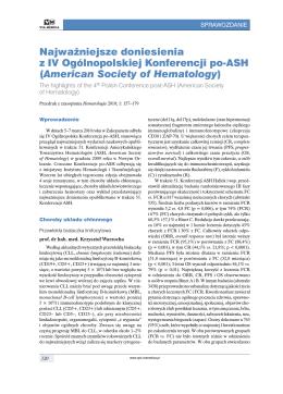 American Society of Hematology - Onkologia w Praktyce Klinicznej