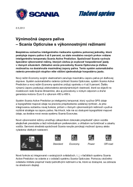 Scania Opticruise s výkonnostnými režimami