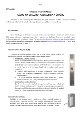 navod na obsluhu, nastavenia a udrzbu GAVAtango 2013-10